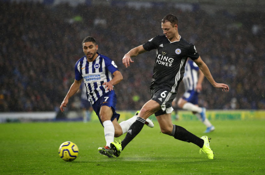 BRIGHTON, ENGLAND - NOVEMBER 23: Neal Maupay of Brighton cand Hove Albion chases Jonny Evans of Leicester City during the Premier League match between Brighton & Hove Albion and Leicester City at American Express Community Stadium on November 23, 2019 in Brighton, United Kingdom. (Photo by Bryn Lennon/Getty Images)