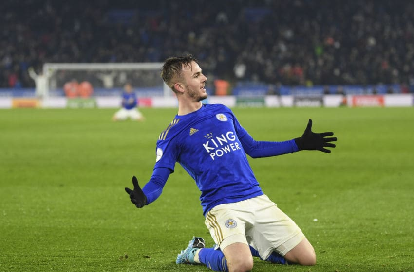 LEICESTER, ENGLAND - DECEMBER 04: James Maddison of Leicester celebrates his goal to make it 2-0 during the Premier League match between Leicester City and Watford FC at The King Power Stadium on December 04, 2019 in Leicester, United Kingdom. (Photo by Michael Regan/Getty Images)
