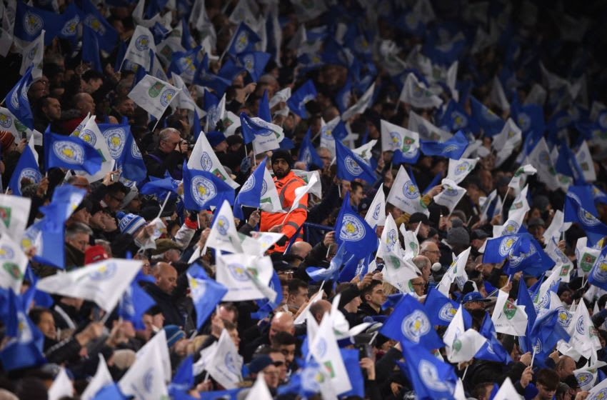 Leicester City supporters (Photo by OLI SCARFF/AFP via Getty Images)