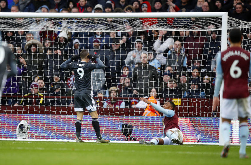 BIRMINGHAM, ENGLAND - DECEMBER 08: Jamie Vardy of Leicester City celebrates his goal in front of Aston Villa supporters during the Premier League match between Aston Villa and Leicester City at Villa Park on December 08, 2019 in Birmingham, United Kingdom. (Photo by Malcolm Couzens/Getty Images)