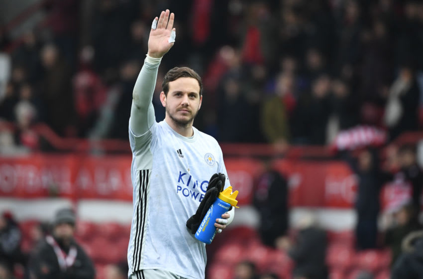 Leicester City's Welsh goalkeeper Danny Ward gestures to supporters as he leaves after the English FA Cup fourth round football match between Brentford and Leicester City at Griffin Park in west London on January 25, 2020. - Leicester won the game 1-0. (Photo by DANIEL LEAL-OLIVAS / AFP) / RESTRICTED TO EDITORIAL USE. No use with unauthorized audio, video, data, fixture lists, club/league logos or 'live' services. Online in-match use limited to 120 images. An additional 40 images may be used in extra time. No video emulation. Social media in-match use limited to 120 images. An additional 40 images may be used in extra time. No use in betting publications, games or single club/league/player publications. / (Photo by DANIEL LEAL-OLIVAS/AFP via Getty Images)