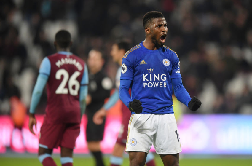 LONDON, ENGLAND - DECEMBER 28: Kelechi Iheanacho of Leicester celebrates after the Premier League match between West Ham United and Leicester City at London Stadium on December 28, 2019 in London, United Kingdom. (Photo by Michael Regan/Getty Images)