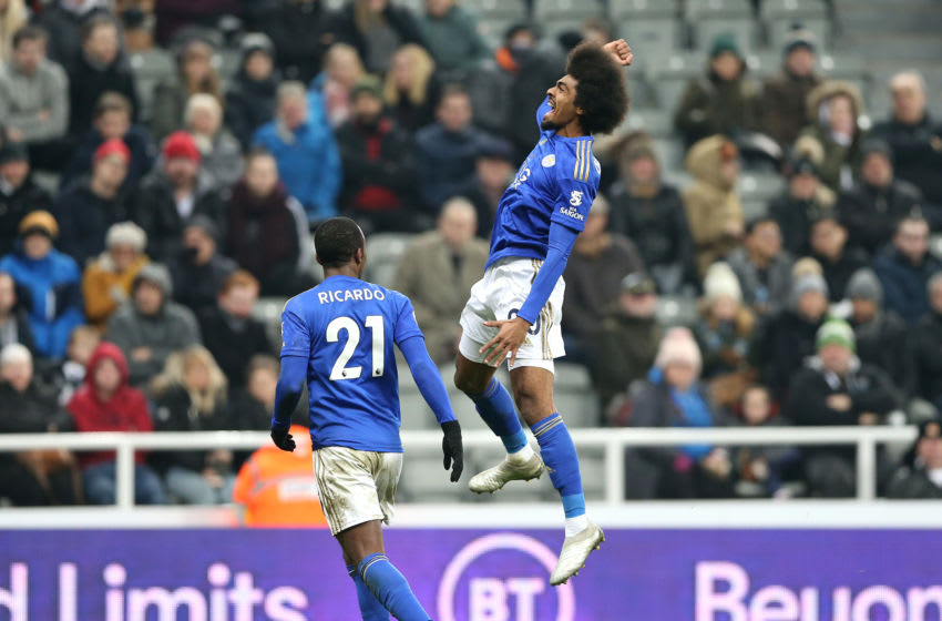 NEWCASTLE UPON TYNE, ENGLAND - JANUARY 01: Hamza Choudhury of Leicester City celebrates after scoring his sides third goal during the Premier League match between Newcastle United and Leicester City at St. James Park on January 01, 2020 in Newcastle upon Tyne, United Kingdom. (Photo by Nigel Roddis/Getty Images)