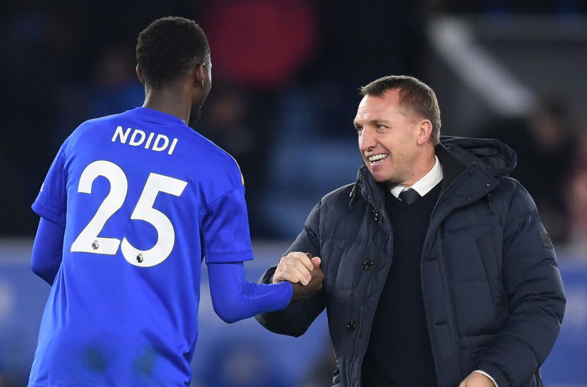 LEICESTER, ENGLAND - JANUARY 04: Brendan Rodgers, Manager of Leicester City celebrates with Wilfred Ndidi of Leicester City following the FA Cup Third Round match between Leicester City and Wigan Athletic at The King Power Stadium on January 04, 2020 in Leicester, England. (Photo by Michael Regan/Getty Images)