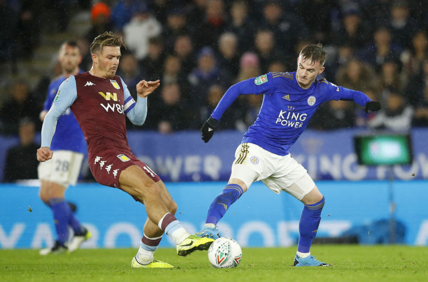 Jack Grealish of Aston Villa, James Maddison of Leicester City (Photo by Malcolm Couzens/Getty Images)