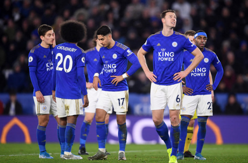 LEICESTER, ENGLAND - JANUARY 11: Leicester players wait for a VAR review during the Premier League match between Leicester City and Southampton FC at The King Power Stadium on January 11, 2020 in Leicester, United Kingdom. (Photo by Laurence Griffiths/Getty Images)