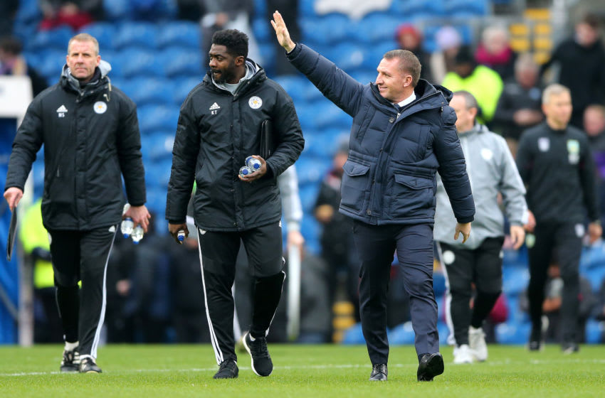BURNLEY, ENGLAND - JANUARY 19: Brendan Rodgers, Manager of Leicester City acknowledges the fans as he walks to the bench prior to the Premier League match between Burnley FC and Leicester City at Turf Moor on January 19, 2020 in Burnley, United Kingdom. (Photo by Nigel Roddis/Getty Images)