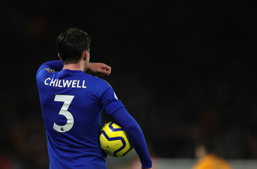 WOLVERHAMPTON, ENGLAND - FEBRUARY 14: Ben Chilwell of Leicester City during the Premier League match between Wolverhampton Wanderers and Leicester City at Molineux on February 14, 2020 in Wolverhampton, United Kingdom. (Photo by Matthew Ashton - AMA/Getty Images)