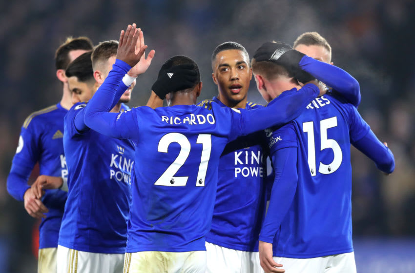 LEICESTER, ENGLAND - JANUARY 22: Harvey Barnes of Leicester City celebrates with teammate Ricardo Pereira and teammates after scoring his team's first goal during the Premier League match between Leicester City and West Ham United at The King Power Stadium on January 22, 2020 in Leicester, United Kingdom. (Photo by Catherine Ivill/Getty Images)