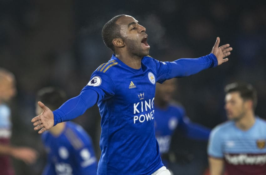 LEICESTER, ENGLAND - JANUARY 22: Ricardo Pereira of Leicester City celebrates scoring the second goal during the Premier League match between Leicester City and West Ham United at The King Power Stadium on January 22, 2020 in Leicester, United Kingdom. (Photo by Visionhaus)