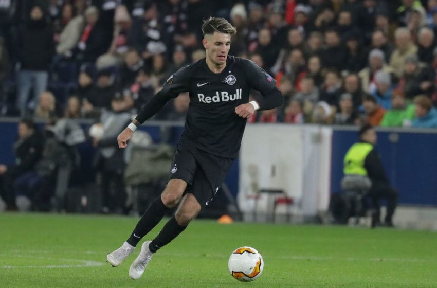 SALZBURG, AUSTRIA - FEBRUARY 28: (BILD ZEITUNG OUT) Dominik Szoboszlai of FC Red Bull Salzburg during the UEFA Europa League round of 32 second leg match between RB Salzburg and Eintracht Frankfurt at Red Bull Arena on February 28, 2020 in Salzburg, Austria. (Photo by TF-Images/Getty Images)