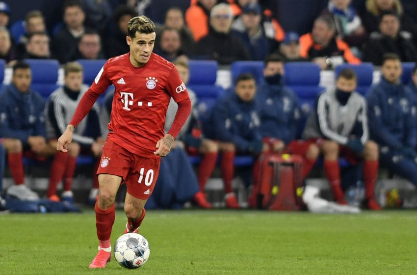 GELSENKIRCHEN, GERMANY - MARCH 03: (BILD ZEITUNG OUT) Philippe Coutinho of Bayern Muenchen controls the ball during the DFB Cup quarterfinal match between FC Schalke 04 and FC Bayern Muenchen at Veltins Arena on March 3, 2020 in Gelsenkirchen, Germany. (Photo by Ralf Treese/DeFodi Images via Getty Images)
