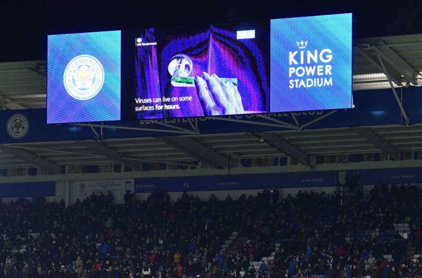 An advertisement warning people of the threat from viruses is shown on the big screen at half time during the English Premier League football match between Leicester City and Aston Villa at King Power Stadium in Leicester, central England on March 9, 2020. (Photo by Paul ELLIS / AFP) / RESTRICTED TO EDITORIAL USE. No use with unauthorized audio, video, data, fixture lists, club/league logos or 'live' services. Online in-match use limited to 120 images. An additional 40 images may be used in extra time. No video emulation. Social media in-match use limited to 120 images. An additional 40 images may be used in extra time. No use in betting publications, games or single club/league/player publications. / (Photo by PAUL ELLIS/AFP via Getty Images)