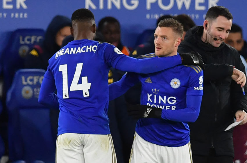 Leicester City's Jamie Vardy, Kelechi Iheanacho (Photo by PAUL ELLIS/AFP via Getty Images)