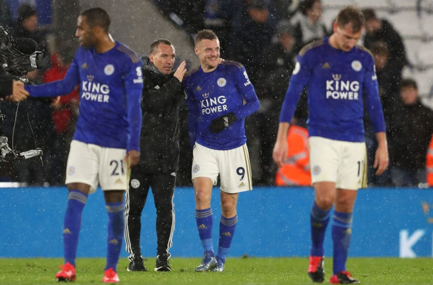 LEICESTER, ENGLAND - MARCH 09: Leicester City manager \ head coach Brendan Rodgers and Jamie Vardy at full time of the Premier League match between Leicester City and Aston Villa at The King Power Stadium on March 9, 2020 in Leicester, United Kingdom. (Photo by James Williamson - AMA/Getty Images)