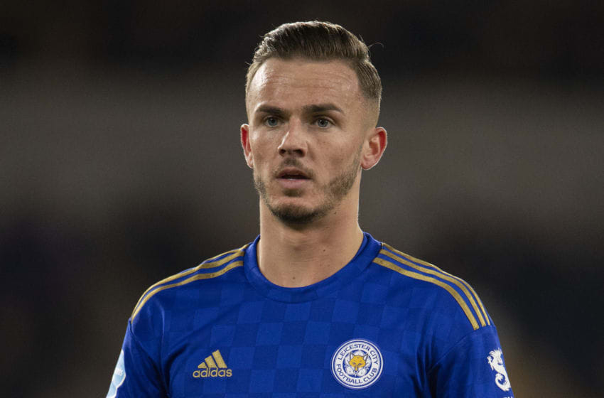 WOLVERHAMPTON, ENGLAND - FEBRUARY 14: James Maddison of Leicester City during the Premier League match between Wolverhampton Wanderers and Leicester City at Molineux on February 14, 2020 in Wolverhampton, United Kingdom. (Photo by VISIONHAUS)