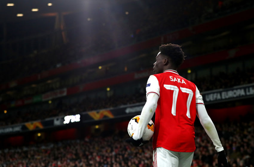 LONDON, ENGLAND - FEBRUARY 27: Bukayo Saka of Arsenal during the UEFA Europa League round of 32 second leg match between Arsenal FC and Olympiacos FC at Emirates Stadium on February 27, 2020 in London, United Kingdom. (Photo by Chloe Knott - Danehouse/Getty Images)