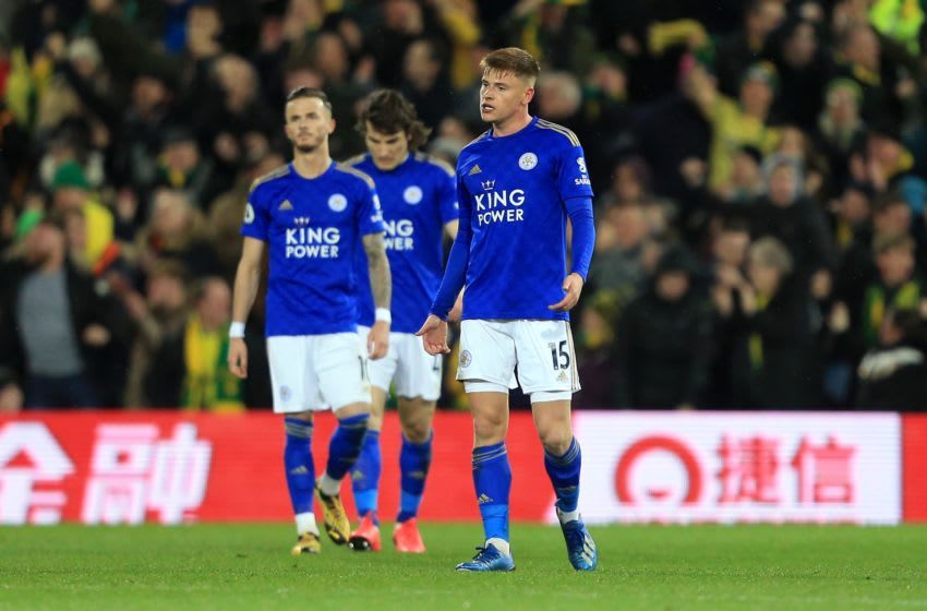 NORWICH, ENGLAND - FEBRUARY 28: Harvey Barnes of Leicester City reacts after conceding a goal during the Premier League match between Norwich City and Leicester City at Carrow Road on February 28, 2020 in Norwich, United Kingdom. (Photo by Stephen Pond/Getty Images)