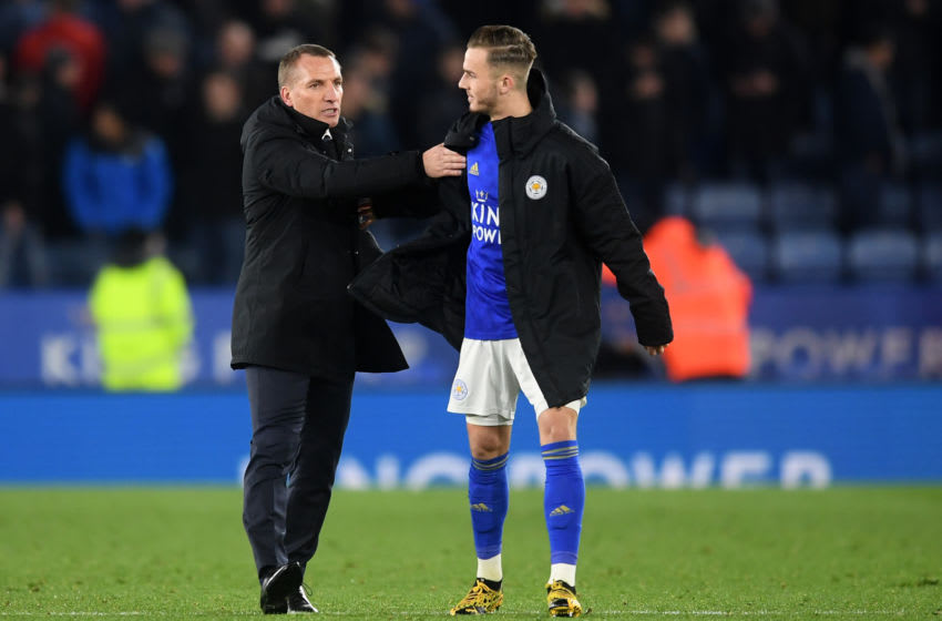 LEICESTER, ENGLAND - MARCH 04: Brendan Rodgers, Manager of Leicester City and James Maddison of Leicester City celebrate following their sides victory in the FA Cup Fifth Round match between Leicester City and Birmingham City at The King Power Stadium on March 04, 2020 in Leicester, England. (Photo by Michael Regan/Getty Images)
