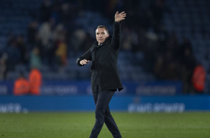 LEICESTER, ENGLAND - MARCH 04: Leicester City manager Brendan Rodgers waves to the crowd after the FA Cup Fifth Round match between Leicester City and Birmingham City at The King Power Stadium on March 4, 2020 in Leicester, England. (Photo by Visionhaus)