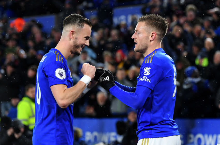 Jamie Vardy (R) of Leicester City with James Maddison (Photo by Michael Regan/Getty Images)