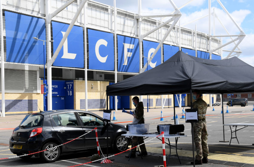 Testing centre at Leicester City's ground (Photo by Ross Kinnaird/Getty Images)