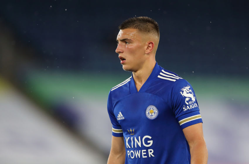 Luke Thomas of Leicester City during the Carabao Cup Third Round match between Leicester City and Arsenal at The King Power Stadium on September 23, 2020 in Leicester, England. (Photo by James Williamson - AMA/Getty Images)