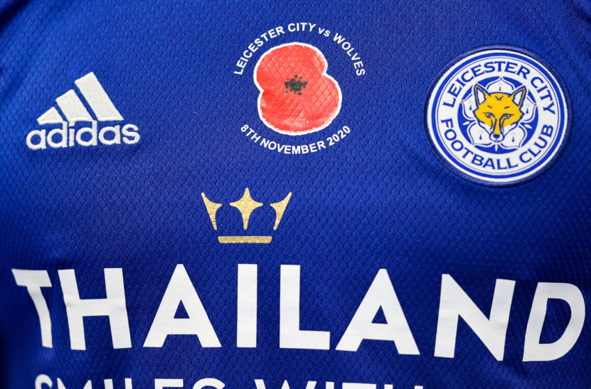 A Poppy on the chest of a Leicester City shirt (Photo by Matthew Ashton - AMA/Getty Images,)