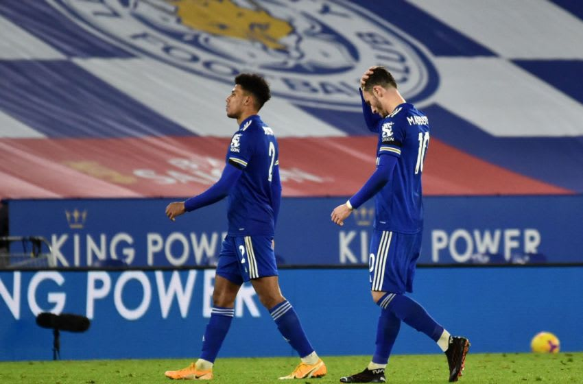 Leicester City's James Justin (L) James Maddison (R) (Photo by RUI VIEIRA/POOL/AFP via Getty Images)