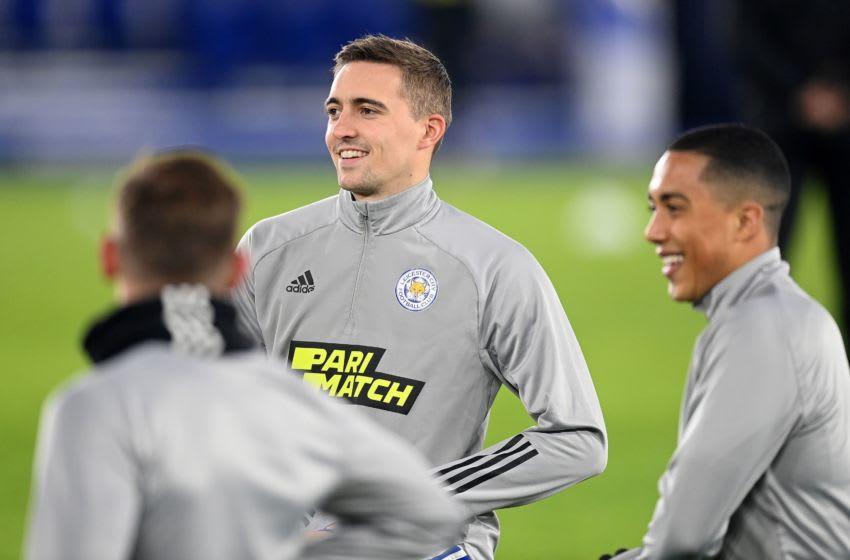 Leicester City's Belgian defender Timothy Castagne (C) (Photo by MICHAEL REGAN/POOL/AFP via Getty Images)