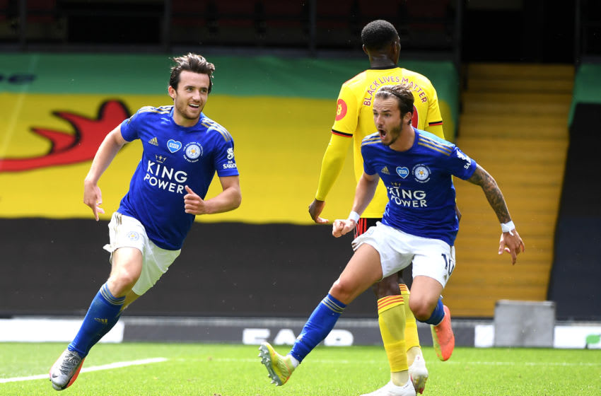 Ben Chilwell, James Maddison of Leicester City (Photo by Andy Rain/Pool via Getty Images)