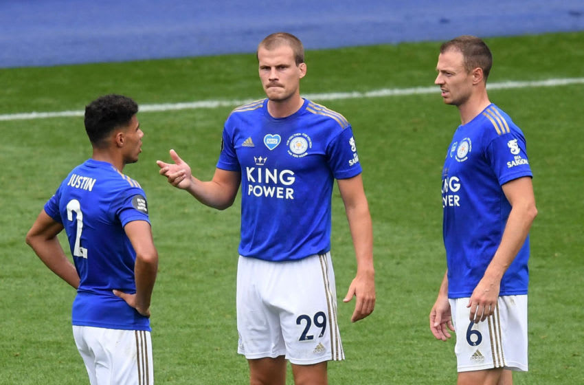 James Justin, Ryan Bennett and Jonny Evans of Leicester City (Photo by Michael Regan/Getty Images)