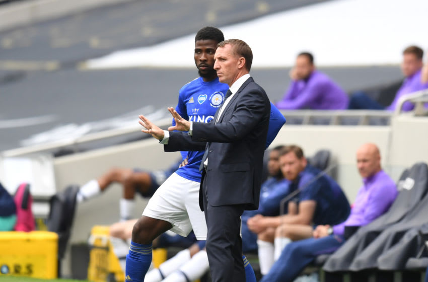 Brendan Rodgers, Kelechi Iheanacho Leicester City (Photo by Michael Regan/Getty Images)