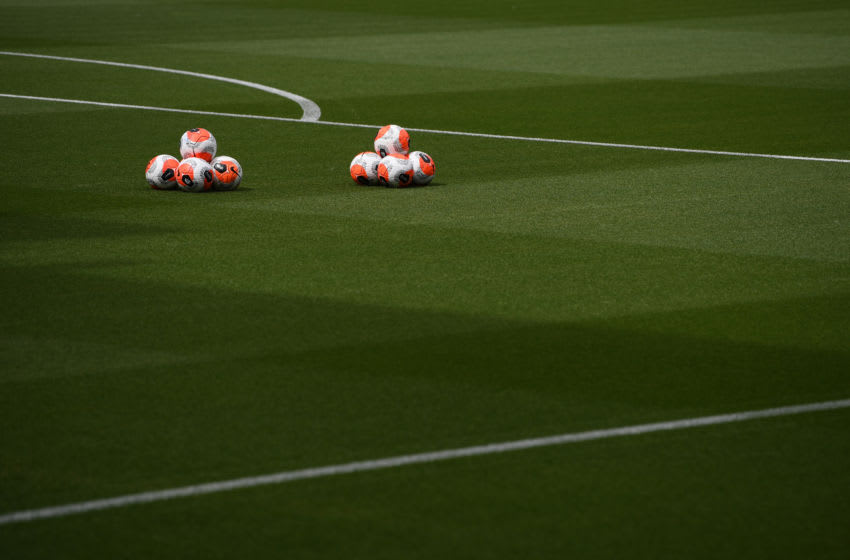 Training balls Leicester City and Manchester United (Photo by Michael Regan/Getty Images)