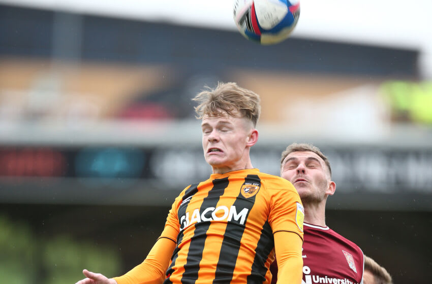 Keane Lewis-Porter of Hull City with Harry Smith of Northampton Town (Photo by Pete Norton/Getty Images)