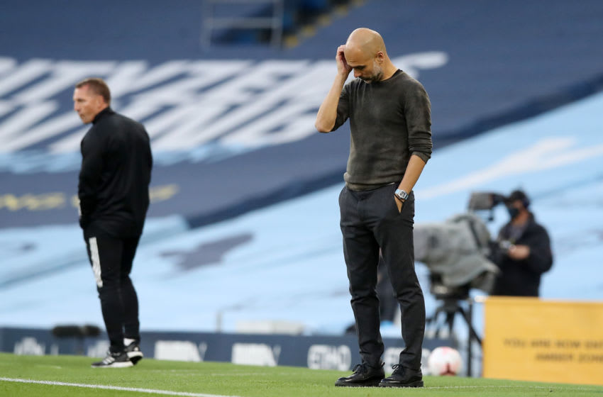 Pep Guardiola of Manchester City (Photo by Martin Rickett - Pool/Getty Images )