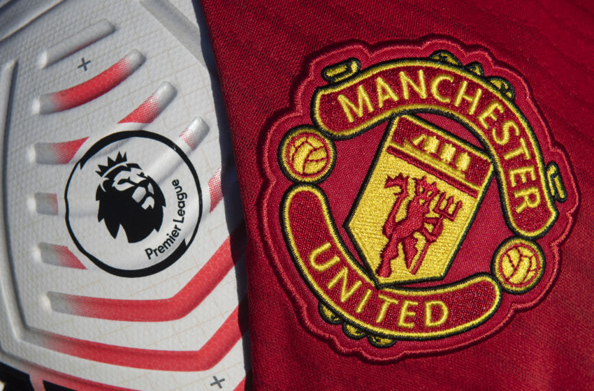 Nike Premier League match ball, Manchester United badge (Photo by Visionhaus)
