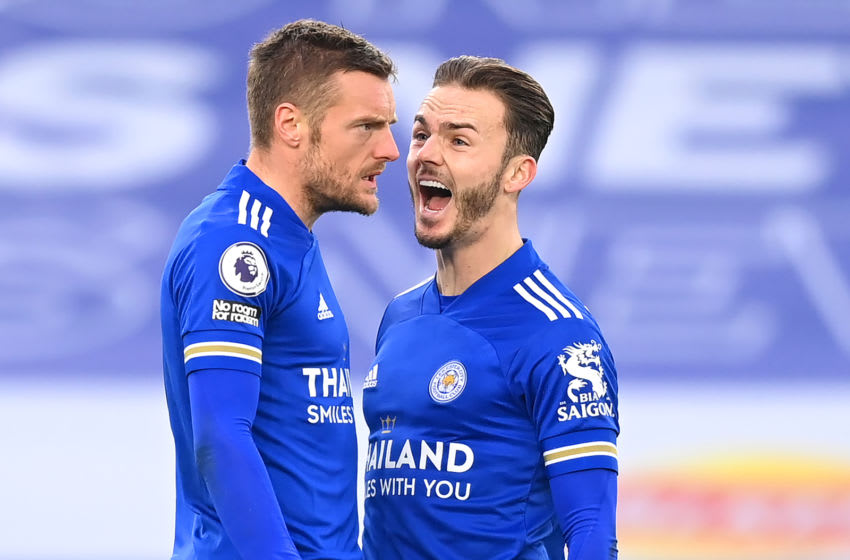 Jamie Vardy with James Maddison of Leicester City (Photo by Michael Regan/Getty Images)
