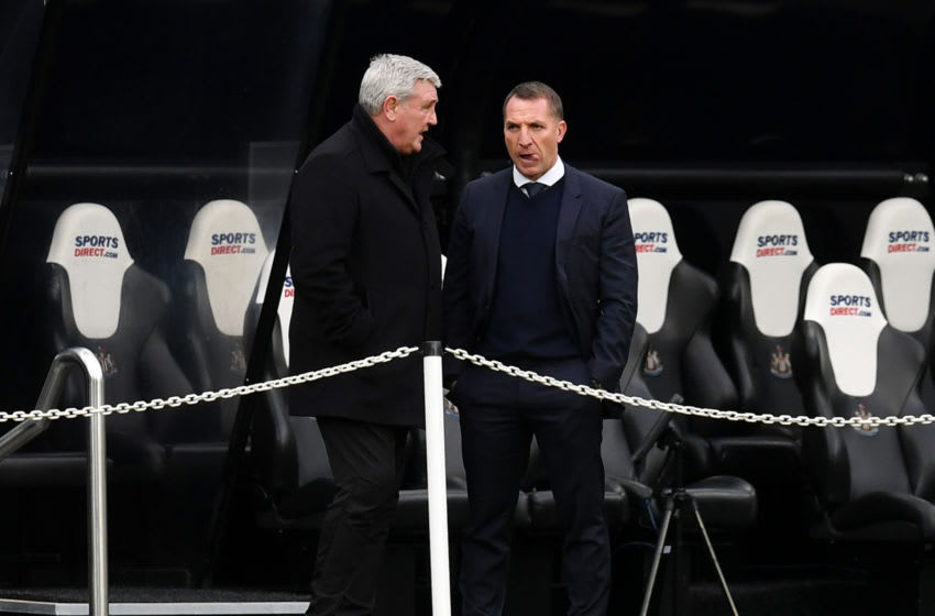 Steve Bruce (l), Newcastle United with Brendan Rodgers (r), of Leicester City (Photo by Paul Ellis - Pool/Getty Images)