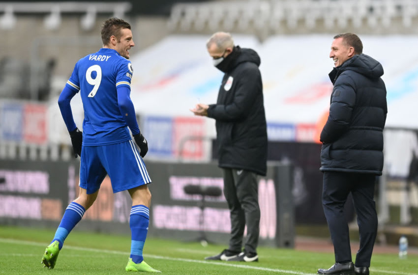 Jamie Vardy (l) of Leicester City with Brendan Rodgers (Photo by Michael Regan/Getty Images)