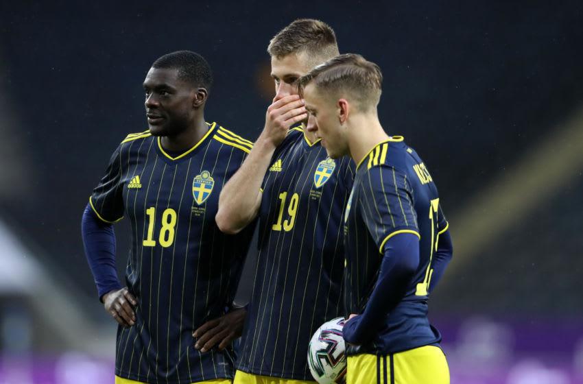 (L-R) Ken Sema, Mattias Svanberg and Jesper Karlsson of Sweden (Photo by Linnea Rheborg/Getty Images)