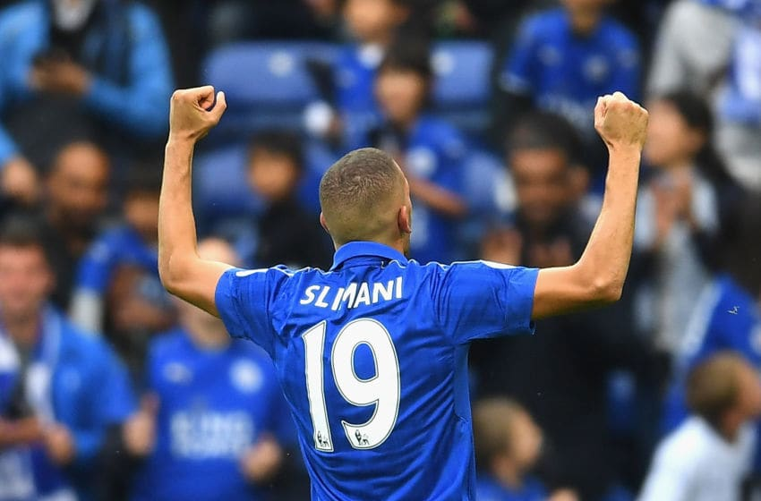 LEICESTER, ENGLAND - SEPTEMBER 17: Islam Slimani of Leicester City celebrates scoring his sides second goal during the Premier League match between Leicester City and Burnley at The King Power Stadium on September 17, 2016 in Leicester, England. (Photo by Laurence Griffiths/Getty Images)