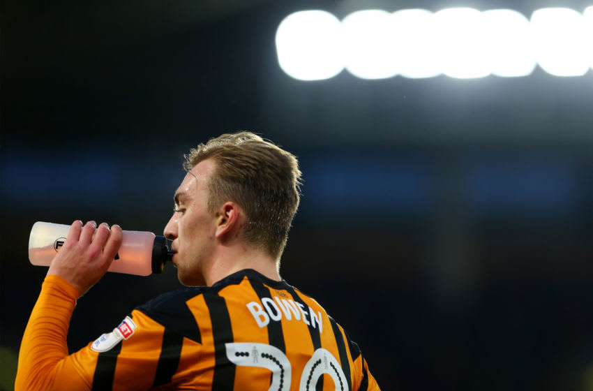 HULL, ENGLAND - JANUARY 27: Jarrod Bowen has a drink on the sidelines during the Emirates FA Cup Fourth Round match between Hull City and Nottingham Forest at KCOM Stadium on January 27, 2018 in Hull, England. (Photo by Ashley Allen/Getty Images)