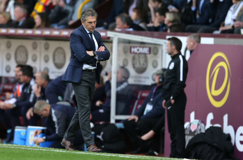 BURNLEY, ENGLAND - APRIL 14: Claude Puel, Manager of Leicester City looks dejected during the Premier League match between Burnley and Leicester City at Turf Moor on April 14, 2018 in Burnley, England. (Photo by Nigel Roddis/Getty Images)