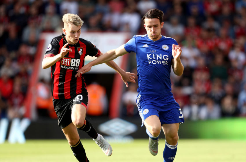 David Brooks of AFC Bournemouth, Ben Chilwell of Leicester City (Photo by Bryn Lennon/Getty Images,)