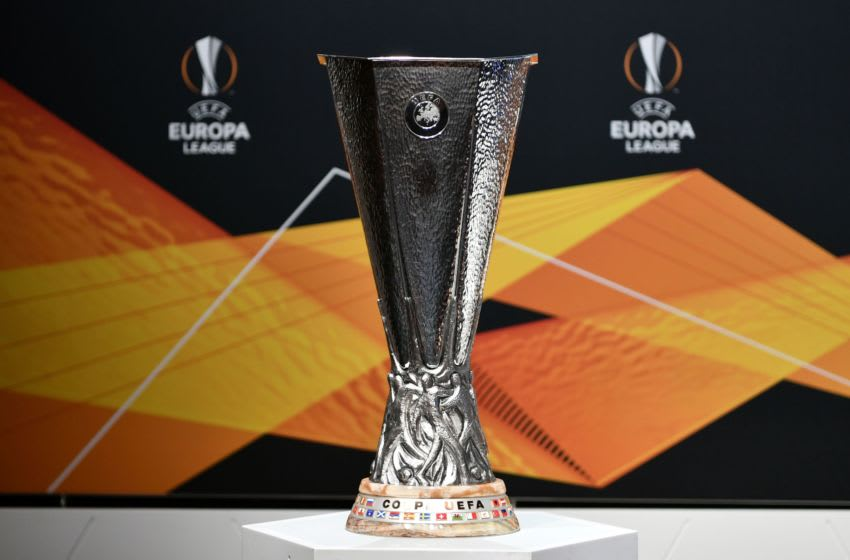 UEFA Europa League trophy (Photo by FABRICE COFFRINI/AFP via Getty Images)