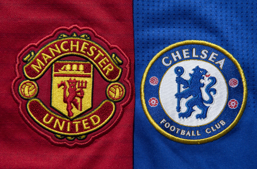 Chelsea and Manchester United crests (Photo by Visionhaus)