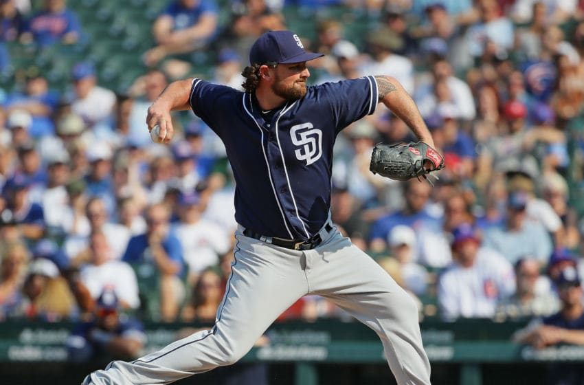 CHICAGO, IL - AUGUST 05: Kirby Yates #39 of the San Diego Padres pitches the 9th inning against the San Diego Padres at Wrigley Field on August 5, 2018 in Chicago, Illinois. The Padres defeated the Cubs 10-6. (Photo by Jonathan Daniel/Getty Images)
