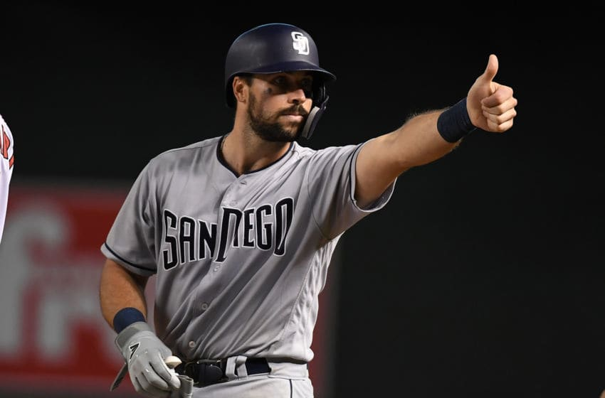 PHOENIX, AZ - SEPTEMBER 03: Austin Hedges #18 of the San Diego Padres gestures to his dugout after hitting a two run single against the Arizona Diamondbacks during the eighth inning at Chase Field on September 3, 2018 in Phoenix, Arizona. Padres won 6-2. (Photo by Norm Hall/Getty Images)