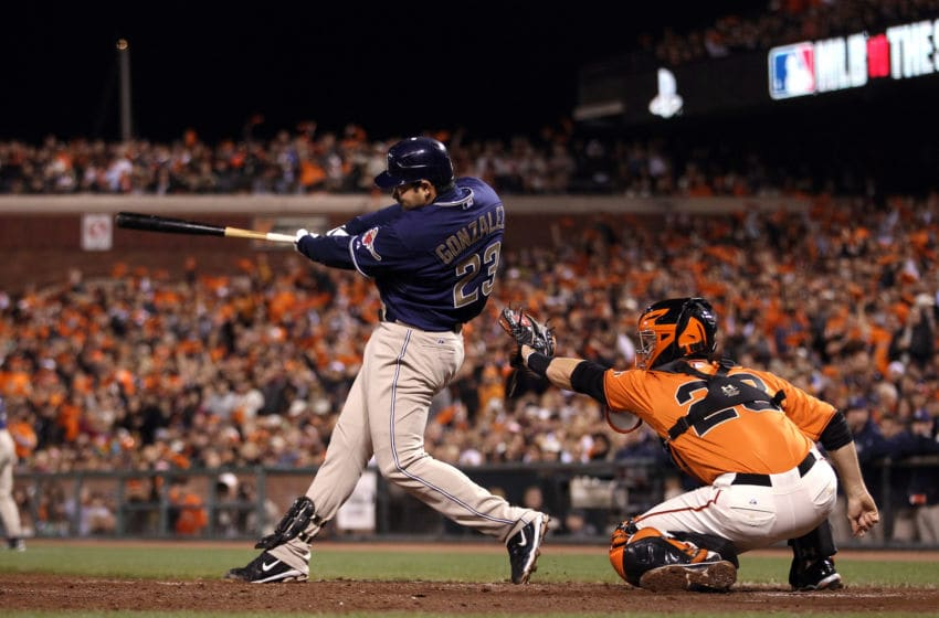 SAN FRANCISCO - OCTOBER 01: Adrain Gonzalez #23 of the San Diego Padres hits a three-run home run to give the Padres a 4-0 over the San Francisco Giants in the third inning at AT&T Park on October 1, 2010 in San Francisco, California. (Photo by Ezra Shaw/Getty Images)